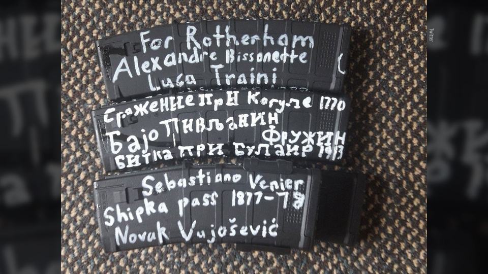 Canadian mosque shooter Alexandre Bissonnette's name is seen written on the equipment used by the alleged shooter in New Zealand.