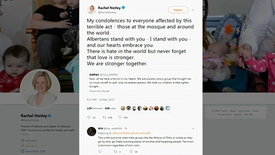 Alberta Premier Rachel Notley tweeted her condolences to those affected by the N.Z. mosque shootings.(@RachelNotley)