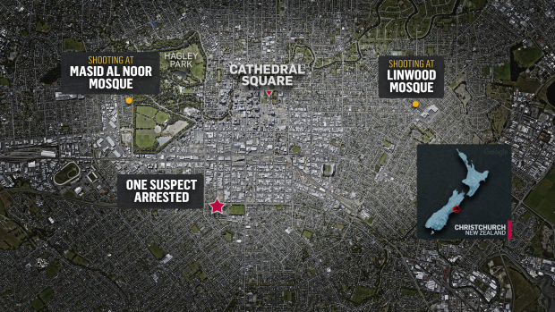 Map of mosque attacks in News Zealand (CTV News)