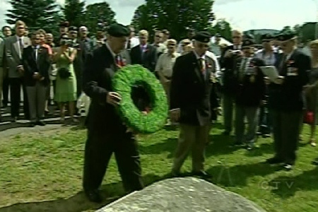 Young victims of a hand grenade explosion 35 years ago are remembered at a ceremony at CFB Valcartier on July 30, 2009.
