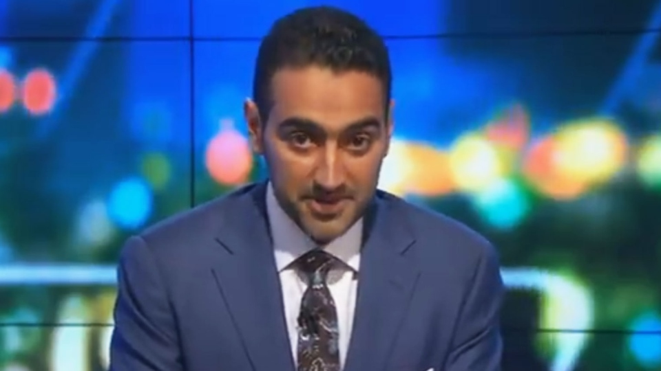 Waleed Aly, co-host of the current affairs program The Project, gave an impassioned speech following the mosque attacks in New Zealand. (The Project / Twitter)