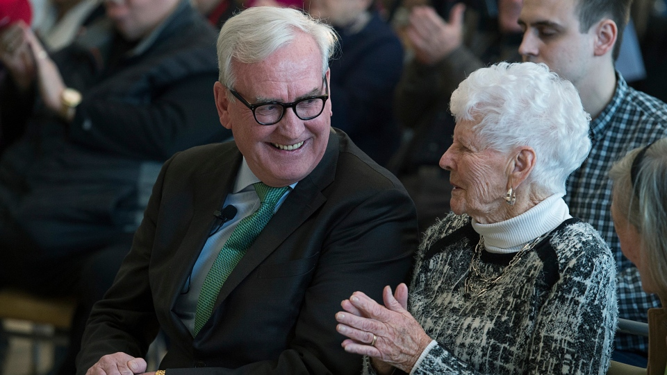 Kevin Vickers, the former House of Commons sergeant-at-arms, left, announces his intention to run for the leadership of the New Brunswick Liberals, in Miramichi, N.B. on Friday, March 15, 2019. THE CANADIAN PRESS/Andrew Vaughan