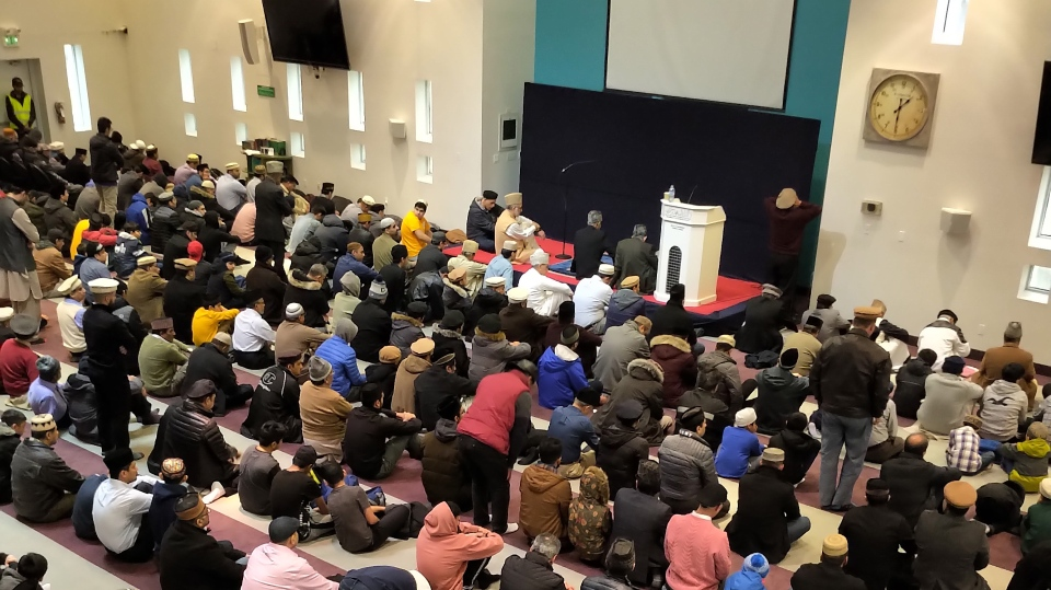 Members of the Muslim community gather at Baitul Islam Mosque in Vaughan for special prayers for the victims of a terror attack at two mosques in New Zealand on March 15, 2019. (Austin Delaney/CTV News Toronto)