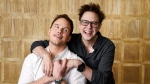 """In this April 20, 2017 photo, Chris Pratt, left, and the """"Guardians of the Galaxy"""" writer/director James Gunn pose together at the London West Hollywood Hotel in West Hollywood, Calif. The film opens May 5. (Chris Pizzello/Invision/AP)"""