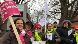 Striking nurses with the Windsor-Essex County Public Health Unit hold a rally on March 15, 2019. (Ricardo Veneza / CTV Windsor)