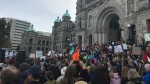 Students join global climate protest at B.C. legislature in Victoria, March 15, 2019. (CTV Vancouver Island)