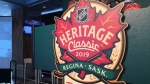 A podium featuring the logo for the 2019 NHL Heritage Classic, set to be played at Mosaic Stadium in October. (Cole Davenport/CTV Regina)