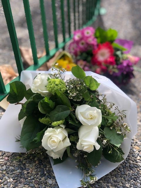 Flowers were left on the steps of a Vancouver mosque on Friday, March 15, 2019. (Sheila Scott / CTV Vancouver)