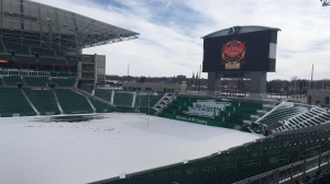 An NHL Heritage Classic logo is displayed at Mosaic Stadium following a press conference announcing details for the event on Mar. 15. (Cole Davenport/CTV Regina)