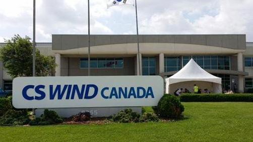Quiet scene at CS Wind plant in Windsor