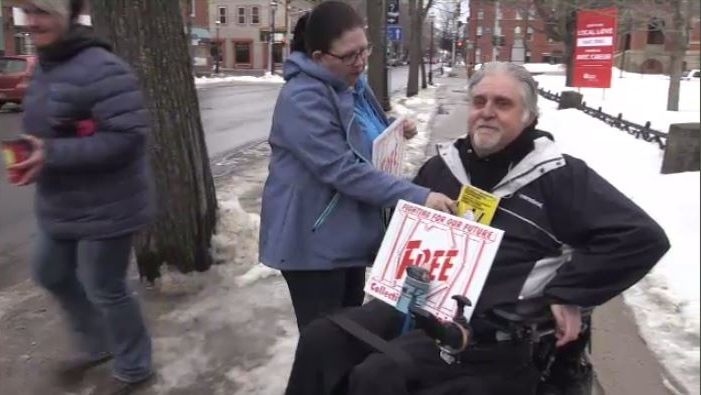 """I just came to support them because these women and men work their guts out,"" said Brett Robertson, a nursing home resident who joined the protest outside the courthouse."