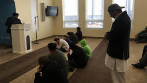 Regina Muslims participate in afternoon prayers at the Ahmadiyya Mosque in the city's east end on Mar. 15, 2019. (Wayne Mantyka/CTV Regina)