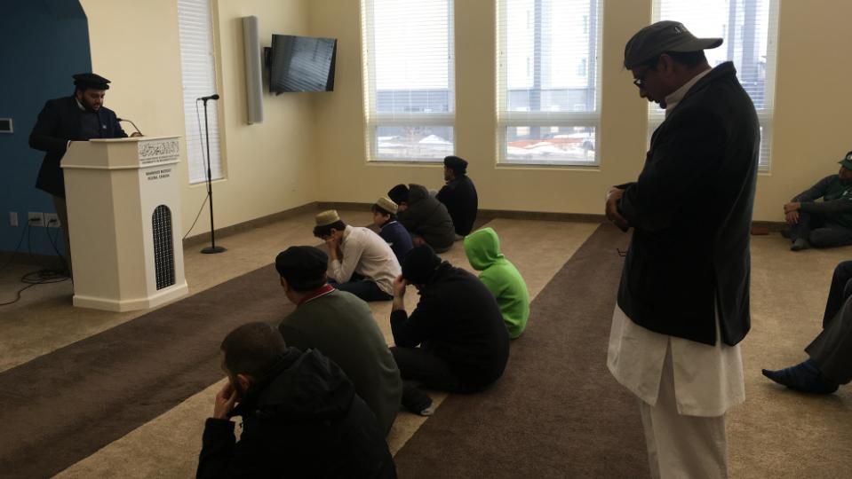 Regina Muslims participate in afternoon prayers at the Ahmadiyya Mosque in the city's east end on Mar. 15, 2019. (Wayne Mantyka/CTV Regina)