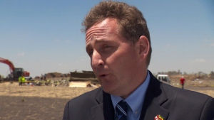 Canada's ambassador to Ethiopia, Antoine Chevrier, visits the Ethiopia Airlines crash site on Friday, March 15, 2019.