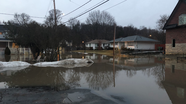A flooded roadway is seen in Bolton on Friday, March 15. (Twitter/@OPP_COMM_CR)