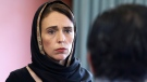 In this photo released by New Zealand Prime Minister's Office, Prime Minister Jacinda Ardern speaks to representatives of the Muslim community, Saturday, March 16, 2019 at the Canterbury Refugee Centre in Christchurch, New Zealand, a day after the mass shootings at two mosques in the city. (New Zealand Prime Minister Office via AP)