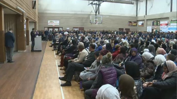 A large crowd gathered at the Grand Mosque on Waverley St. to stand in solidarity with the Muslim community. (Credit: CTV News)