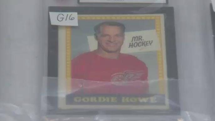 "A Gordie Howe ""Mr. Hockey"" card at an Elmira auction. (Mar. 16, 2019)"