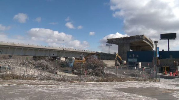 Part of the canal is being used to store waste from the Turcot Interchange, which is concerning environmentalists