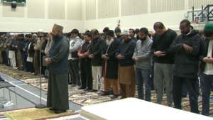 Calgary's Muslim community gathers for a prayer service on March 15, 2019 at the Abu Bakr Islamic Centre.