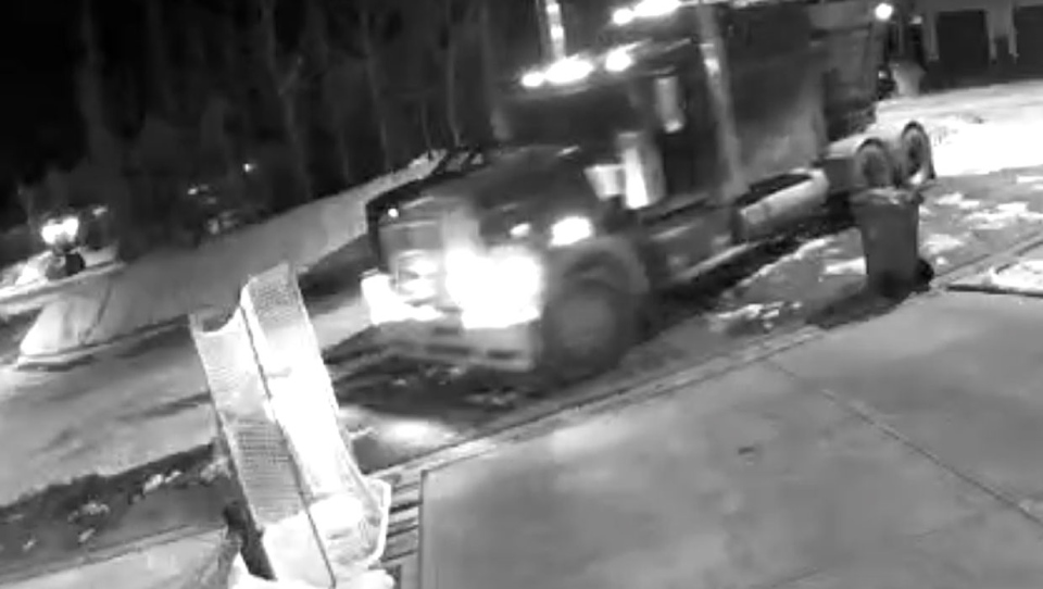 A semi tractor-trailer was captured on a driveway security camera pulling into Todd Birss' cul-de-sac early Friday morning. (Supplied)