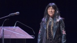 Buffy Sainte-Marie talks about diversity and inclusion at the Belong Forums, a public lecture series as part of the Year of Belonging, in honour of Dalhousie University's 200th anniversary, in Halifax on Tuesday, April 17, 2018. (THE CANADIAN PRESS/Andrew Vaughan)