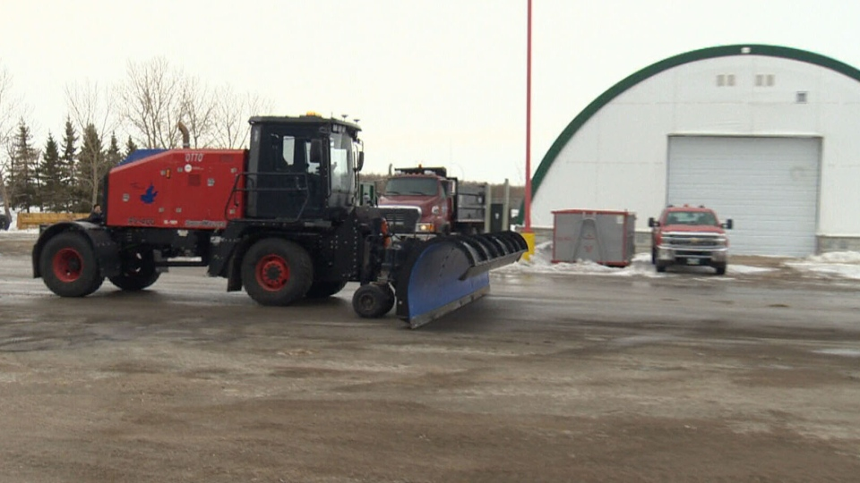 "Winnipeg Richardson International Airport's autonomous snowplow, nicknamed ""OTTO,"" is seen here. It's the first of its kind in North America."
