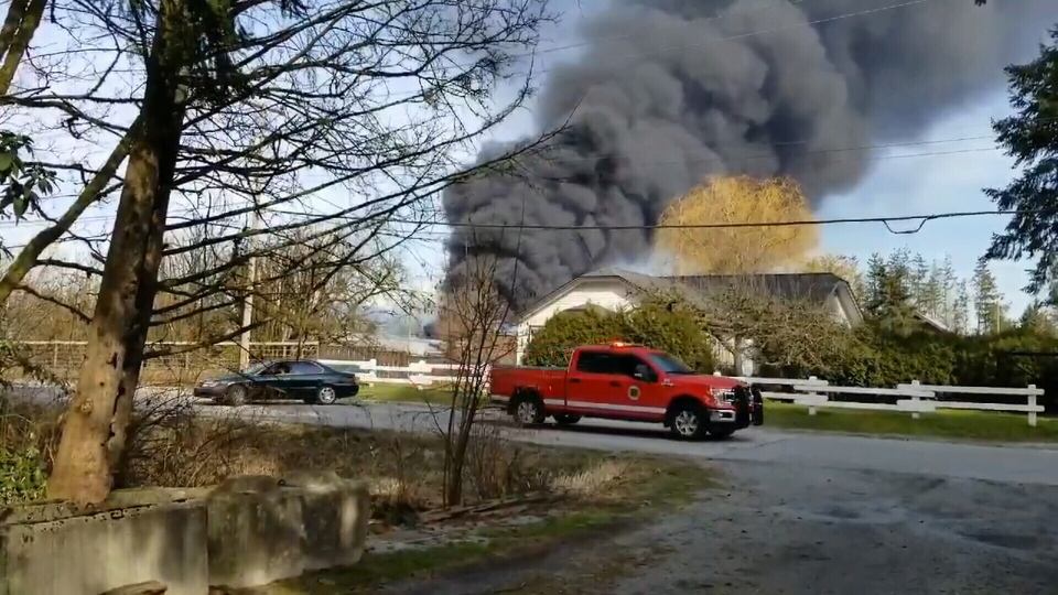 The fire broke out around 3 p.m. on Woolridge Road near the Pitt Meadows airport. Courtesy: Twitter.com/Dan78638242