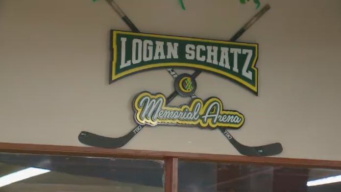 A sign at the opening of the newly minted Logan Schatz Memorial Arena in Allan, Sk.