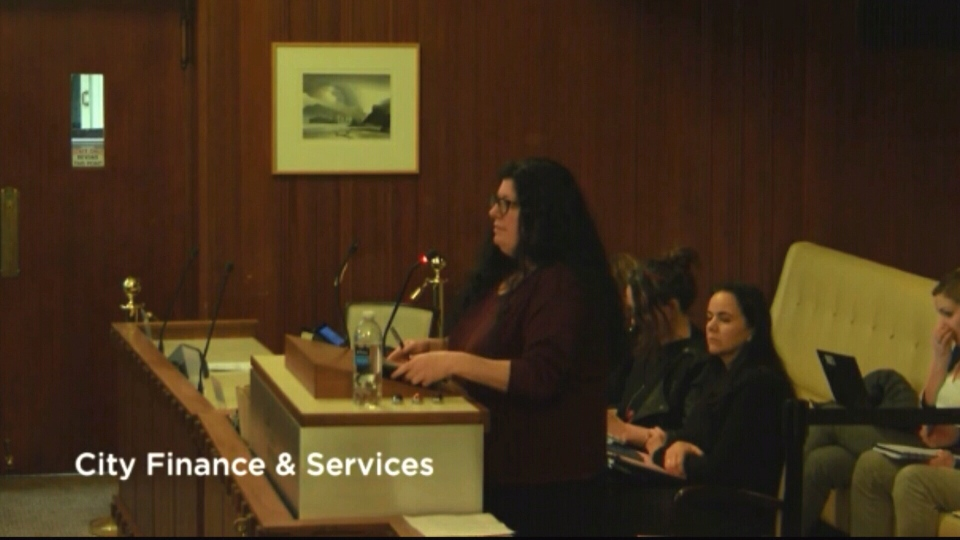 Hilla Kerner speaks to city council about funding for Vancouver Rape Relief.