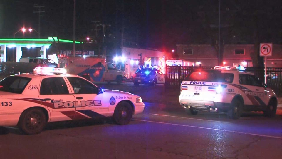 Police investigate after three people were shot in a vehicle in the area of Jane Street and Trethewey Drive Sunday March 17, 2019.