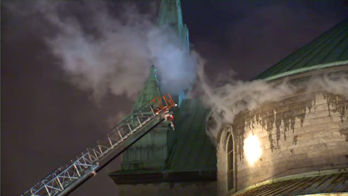 Dozens of firefighters were dispatched to Côté Pierre Vicaire Episcopal church on Fullum St., near Lariviere St. on Saturday night after a three-alarm fire broke out inside. (CTV Montreal)