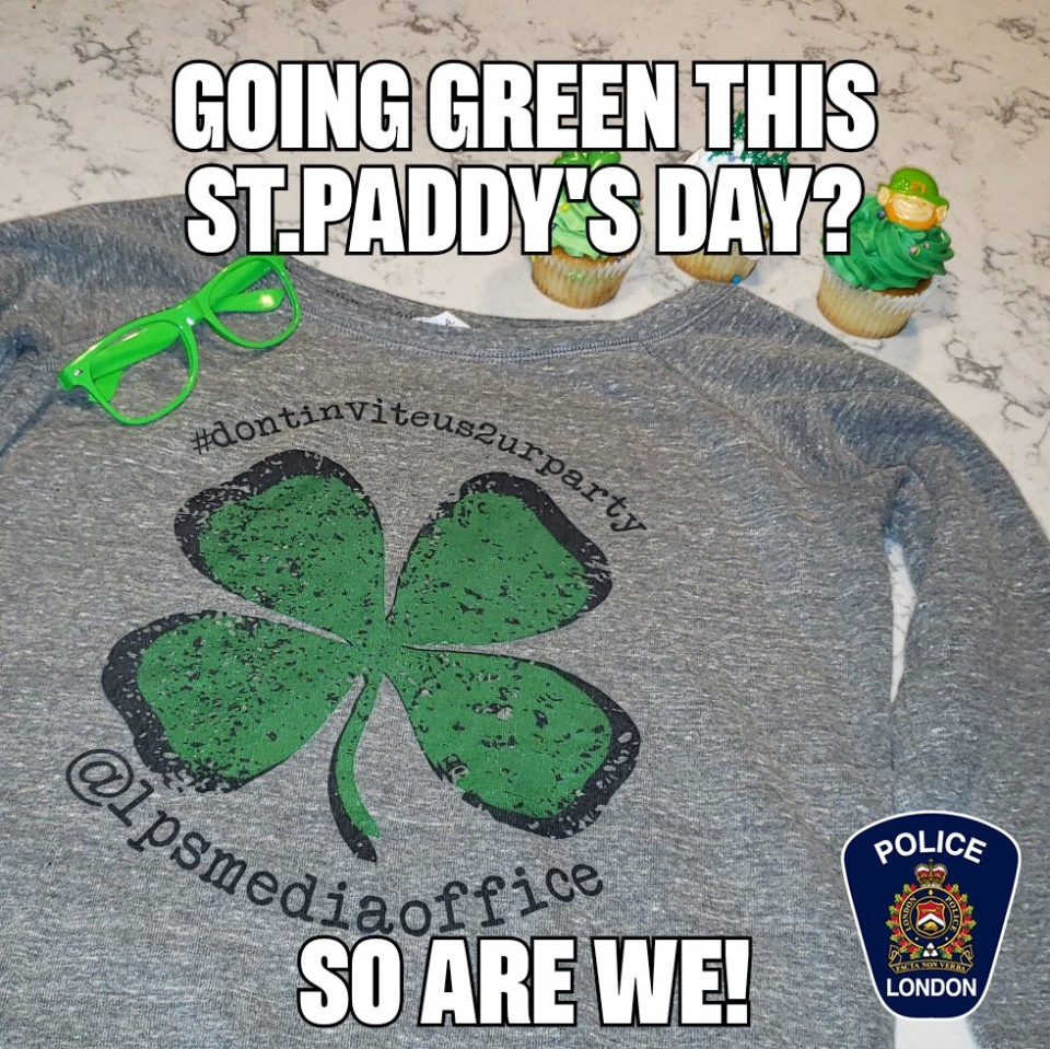 London police use social media to let St. Patrick's Day revellers know they will be patrolling the streets.