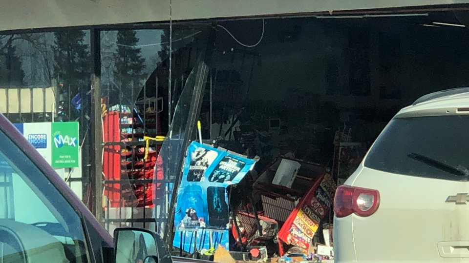 Police say a car was used to smash into the Daisy Mart on St. Andrews St. (Courtesy: Ted Stanway)