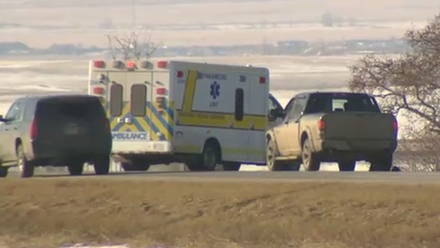 Police block off scene south of Strathmore after body found | CTV News