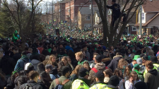 Crowds on Ezra Avenue in Waterloo for St. Patrick's Day. (Mar. 17, 2019)
