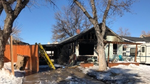 What is left following a house fire on the 700 blk. of Retallack St. on March 17, 2019.