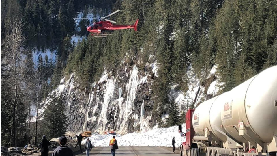 Highway 1 was closed due to an avalanche roughly 46 km east of Revelstoke. (Photo submitted by Rob Thiessen)