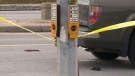Police tape blocks off a Mississauga intersection after an elderly woman was struck by a vehicle on March 17, 2019.