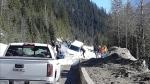 A car was swept up by an avalanche on Highway 1 near Revelstoke. Courtesy: Denise Kinney-Bodenham