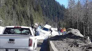 A car was swept up by an avalanche on Highway 1 near Revelstoke. (Photo from Denise Kinney-Bodenham)