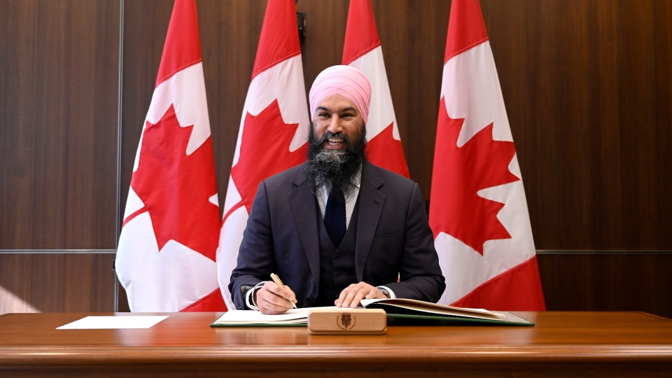 NDP Leader Jagmeet Singh poses for photos after being sworn in as MP for Burnaby South during a ceremony in Ottawa on Sunday, March 17, 2019. THE CANADIAN PRESS/Justin Tang