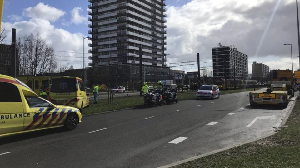 Emergency services attend the scene of a shooting in Utrecht, Netherlands, on March 18, 2019. (Martijn van der Zande via AP)