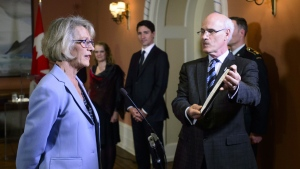 Joyce Murray is sworn in a Treasury Board President during a cabinet shuffle at Rideau Hall in Ottawa on Monday, March 18, 2019. THE CANADIAN PRESS/Sean Kilpatrick