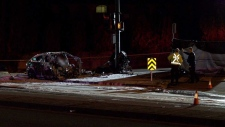 A damaged vehicle is pictured at the scene of a fatal crash in Coquitlam on Monday, March 18, 2019. (Jordan Jiang / CTV News Vancouver)