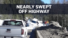 Close call for driver caught in B.C. avalanche
