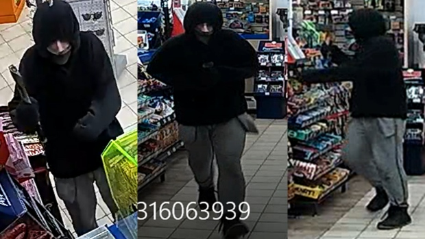 Sarnia police released these images of a suspect sought in a convenience store robbery in the city on Saturday, March 16, 2019.