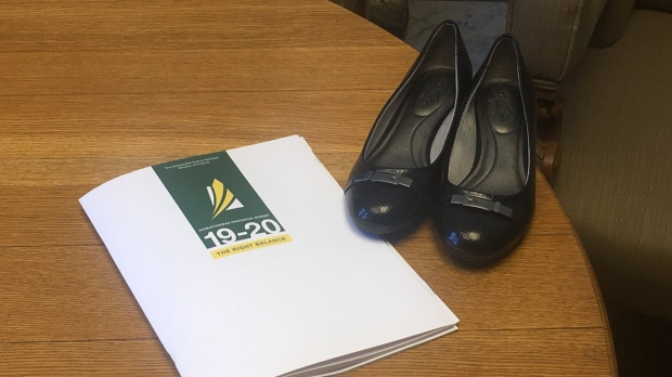 Finance Minister Donna Harpauer unveils black flats ahead of the 2019 provincial budget.