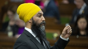 NDP Leader Jagmeet Singh rises for the first time after taking his place in the House of Commons Monday March 18, 2019 in Ottawa. THE CANADIAN PRESS/Adrian Wyld