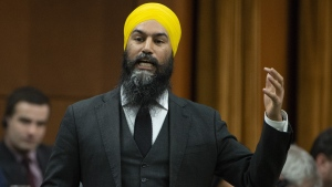 NDP Leader Jagmeet Singh rises for the first time after taking his place in the House of Commons, Monday, March 18, 2019 in Ottawa. THE CANADIAN PRESS/Adrian Wyld